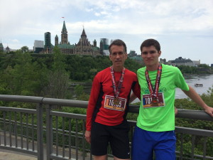 Bob and John Clare after the Ottawa Tamarack 1/2 Marathon, 5/24/15