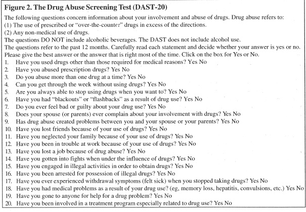 10 or more 'yes' answers indicates a high likelihood of addiction. Canadian J Em Med 2005; 6 (1): 3-8.