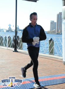 Finishing the Norfolk Harbor Half Marathon, Nov 2016.